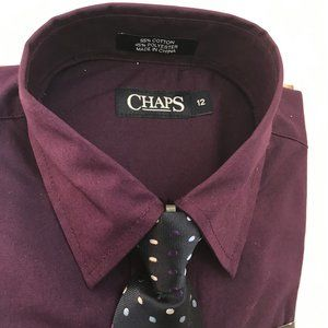 Chaps Boys 12 Button Up Shirt and Tie